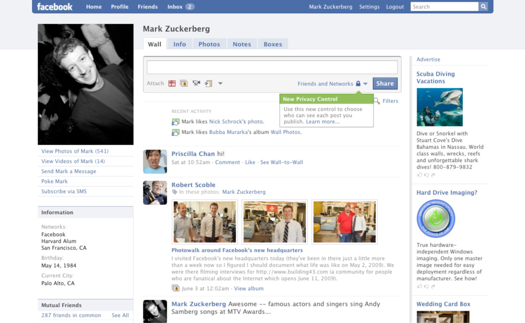 Facebook profile page (2009)