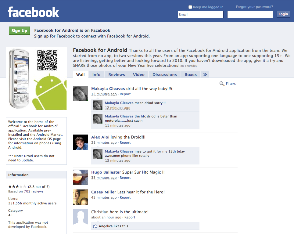 Facebook Android profile page (2009)