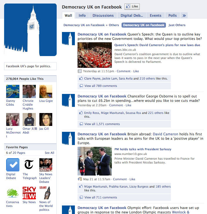 Facebook UK elections page (2010)