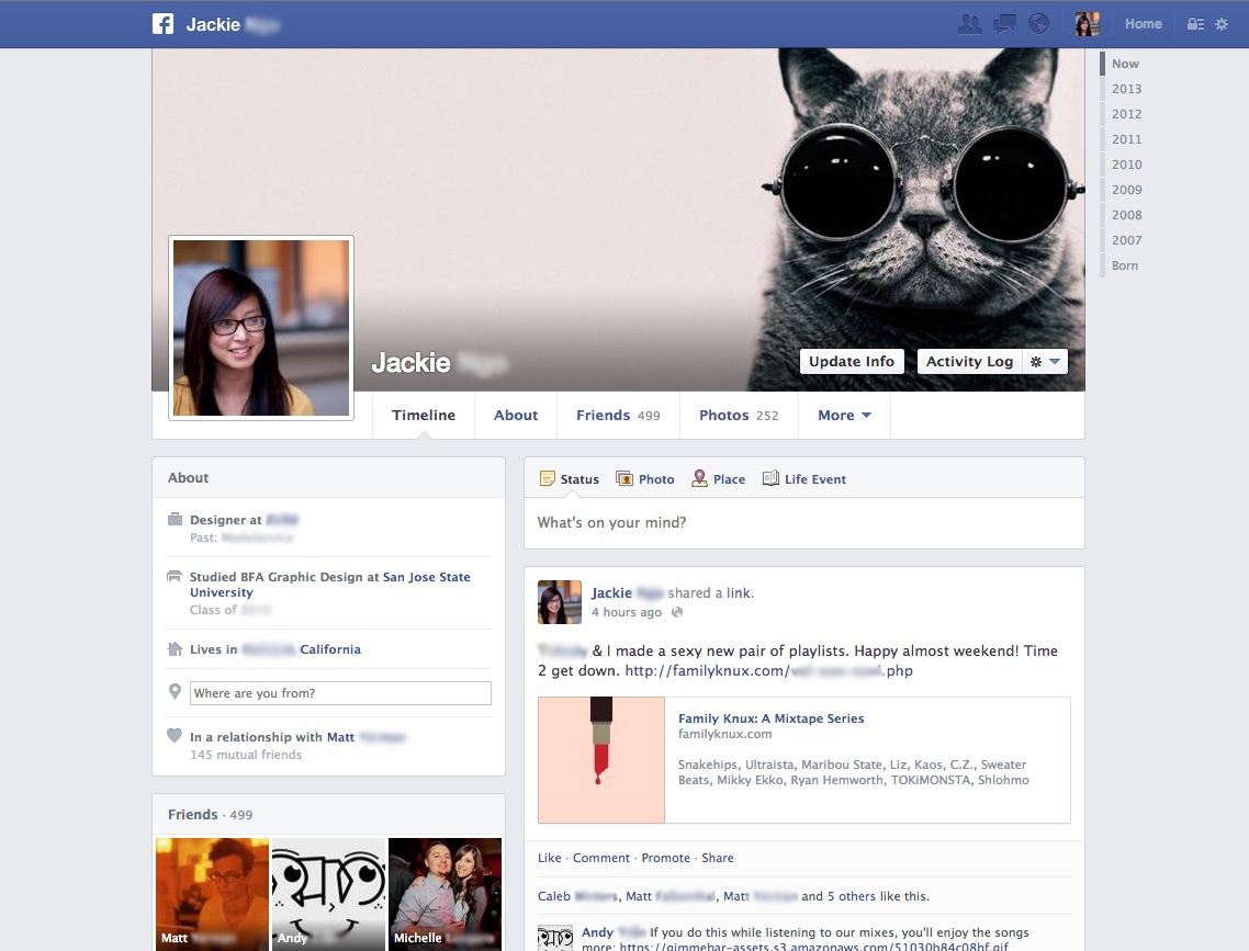 Facebook profile page (2013)