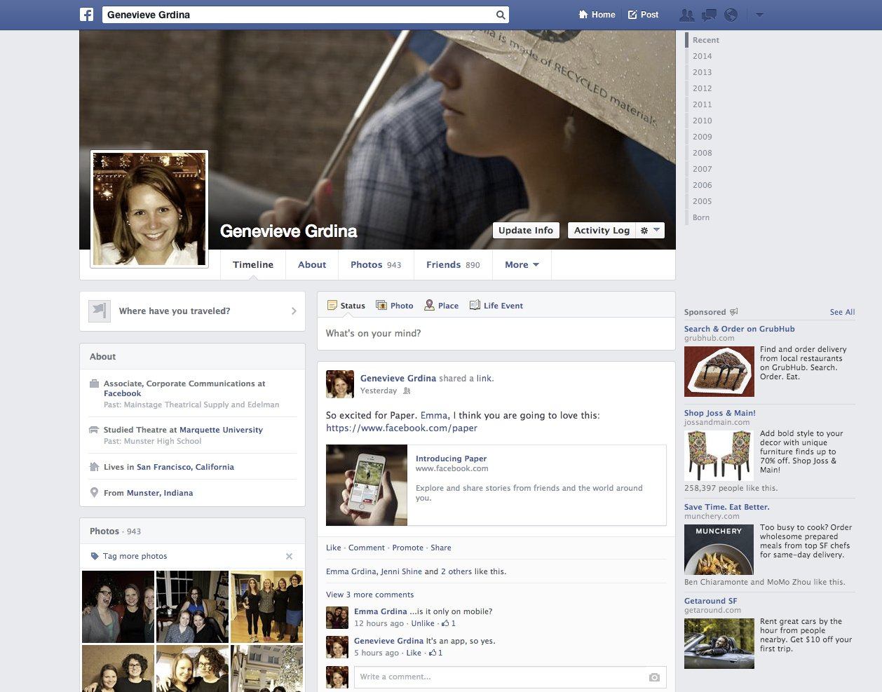 Facebook profile page (2014)