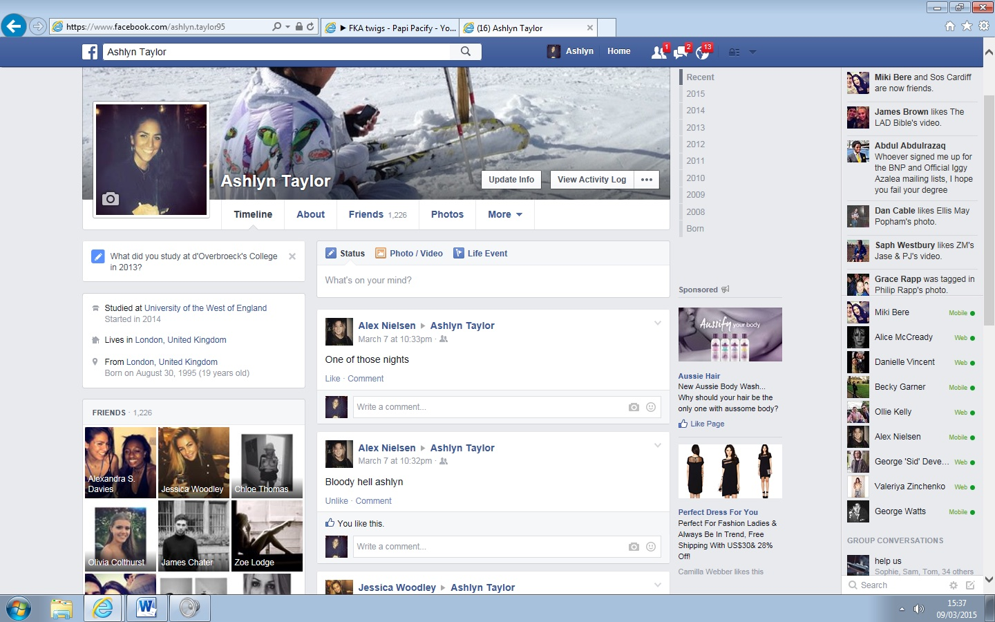 Facebook profile page (2015)