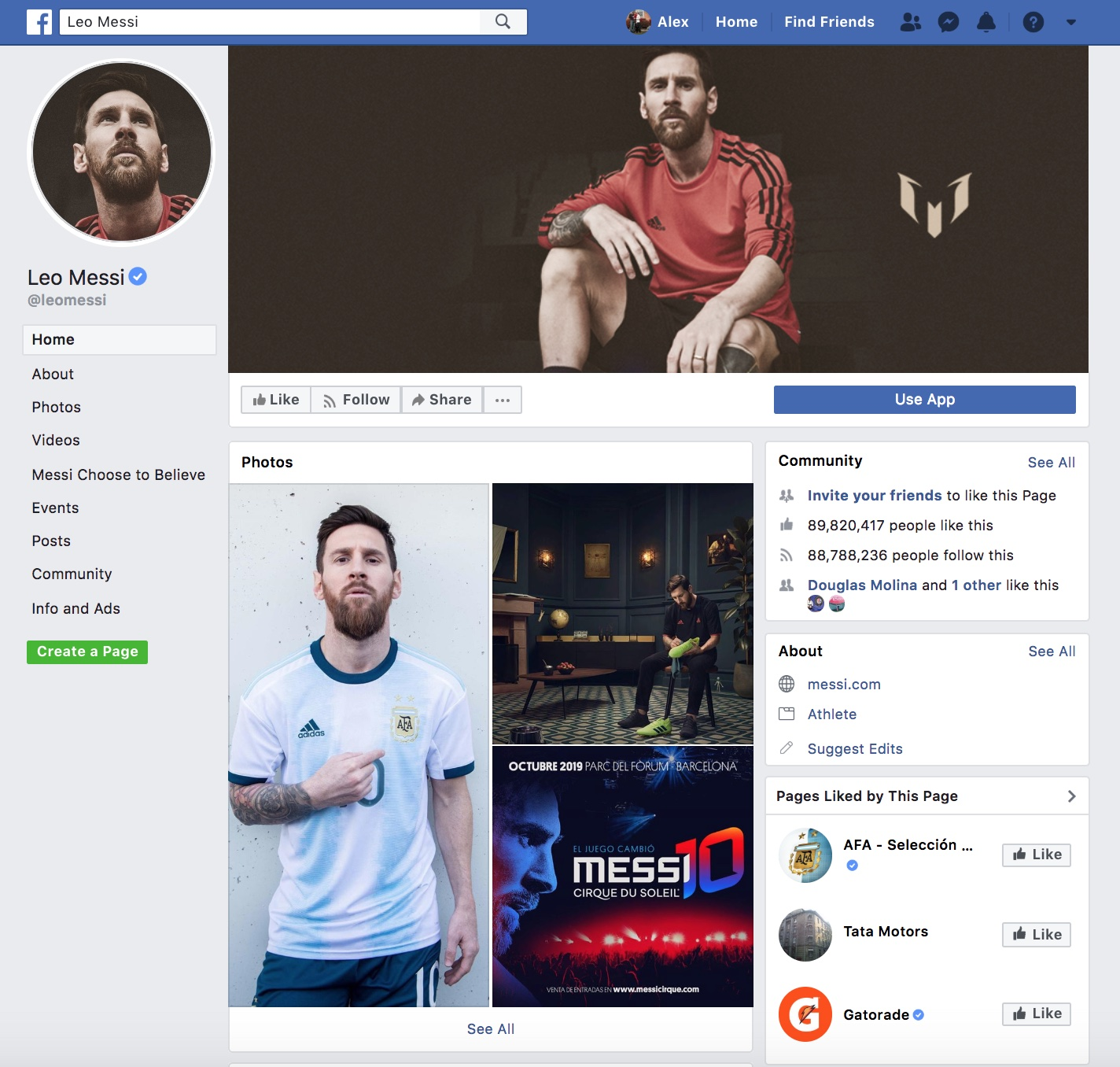 Facebook profile for Leo Messi (2019)