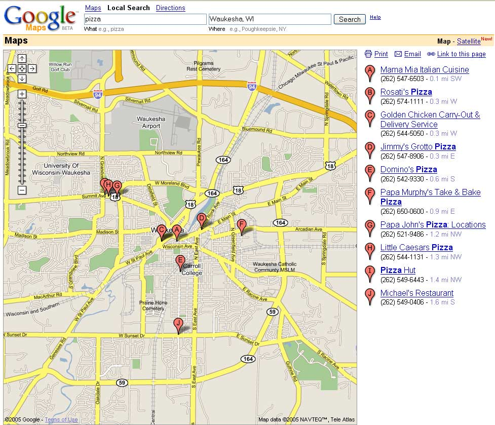 Map search results (2005)