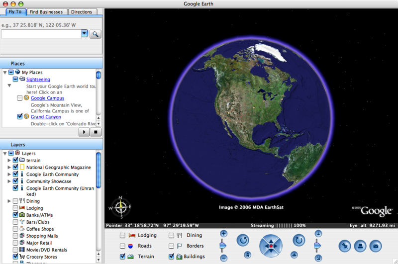 Early version of Google Earth (2006)