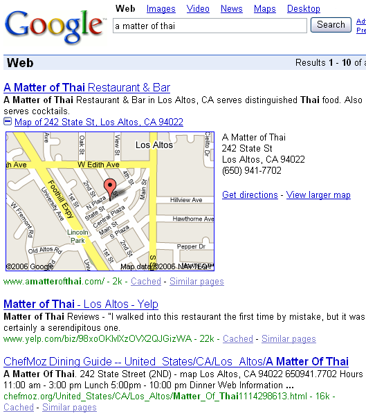 Maps in search results (2006)