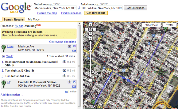 Google Maps walking directions for NYC (2008)