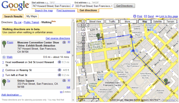 Google Maps walking directions for SF (2008)