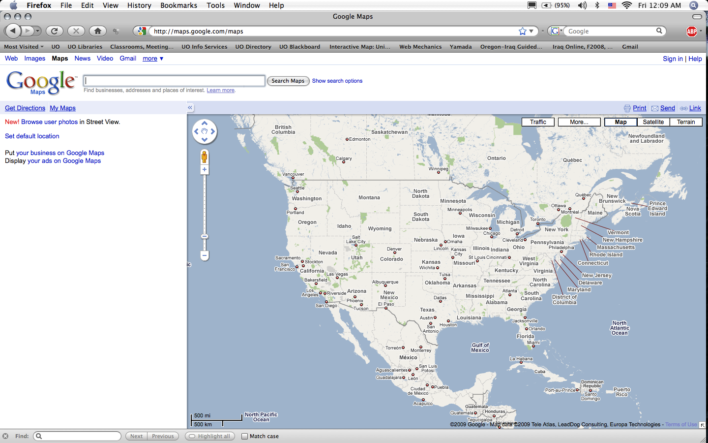 Google Maps redesign showing US map (2009)