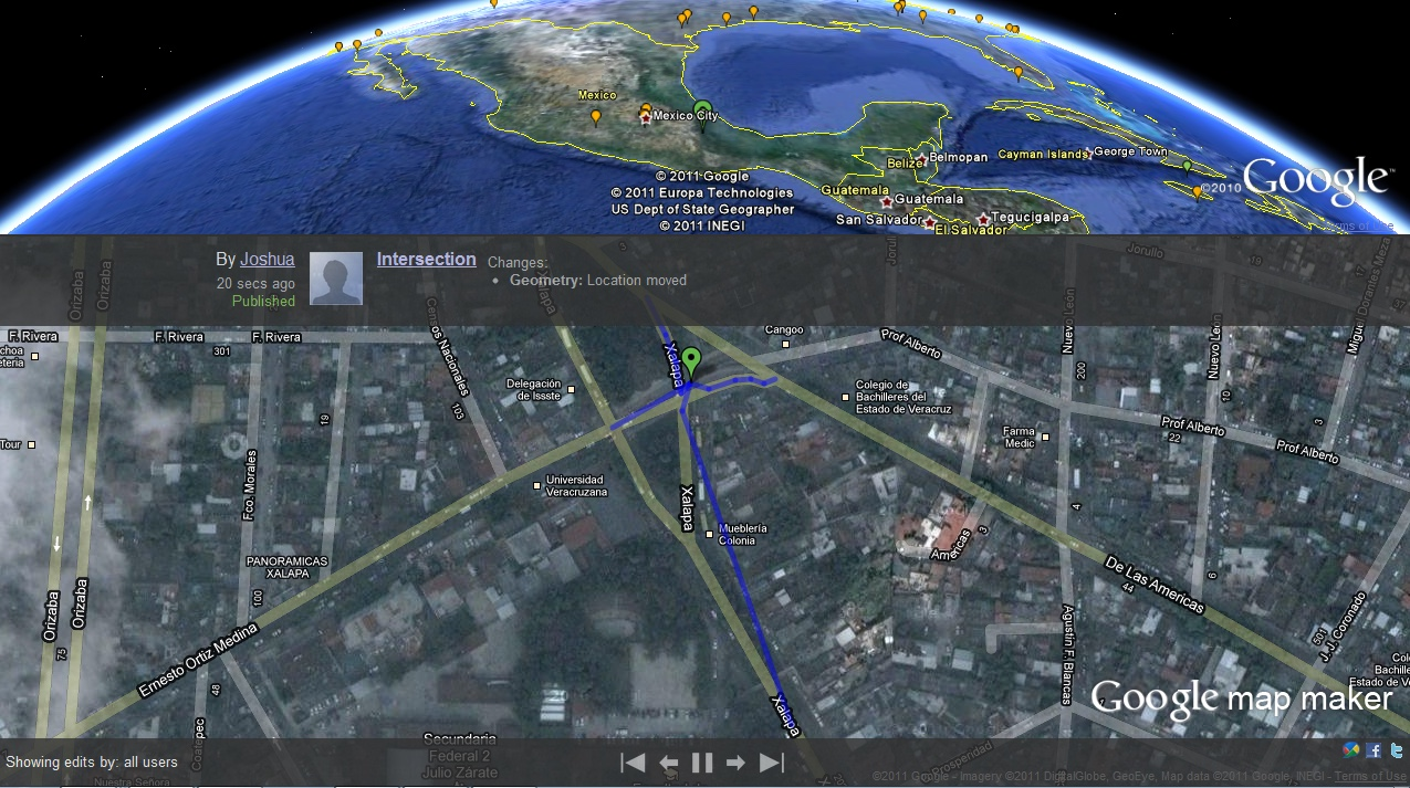 Google Map Maker with Earth plug-in (2011)