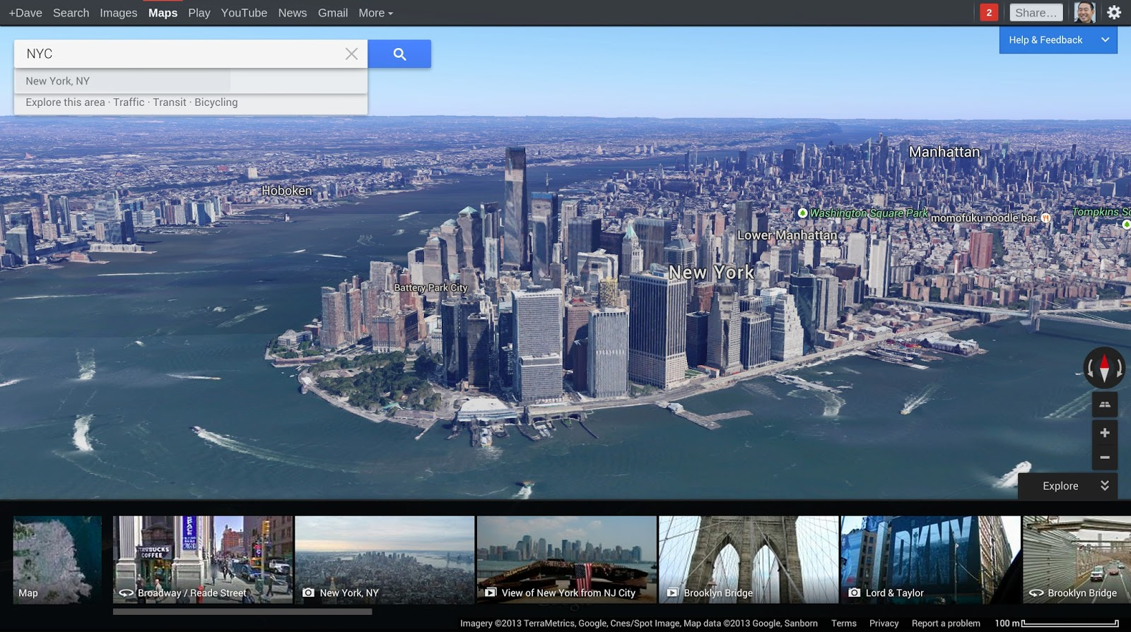 New York City in redesigned Google Maps with Explore box (2013)