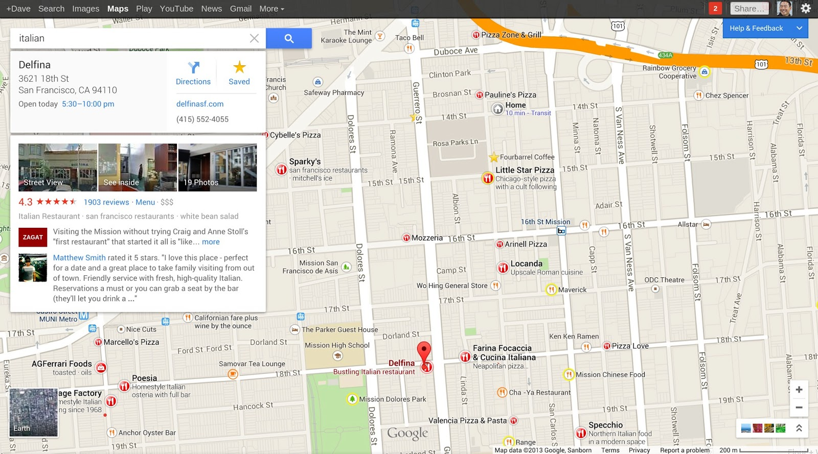 Google Maps redesigned place details (2013)