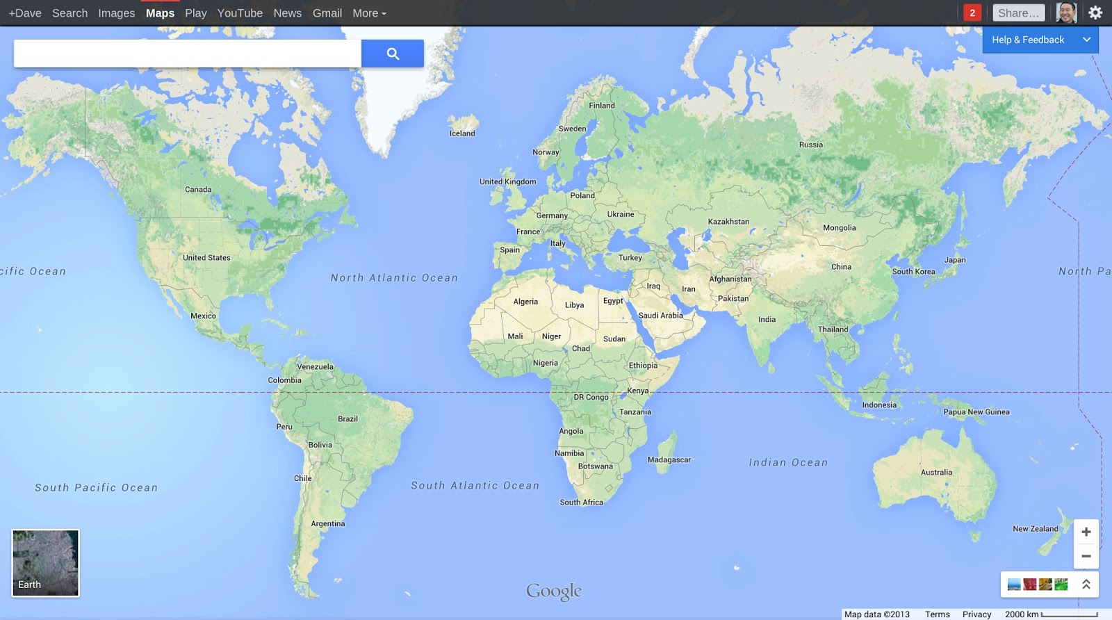 Google Maps overhaul showing entire world (2013)