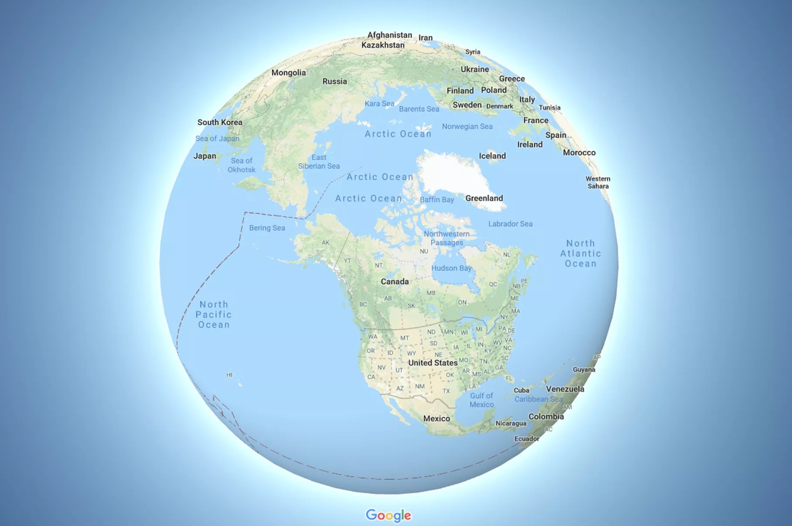 Google Maps surface becomes a globe (2018)