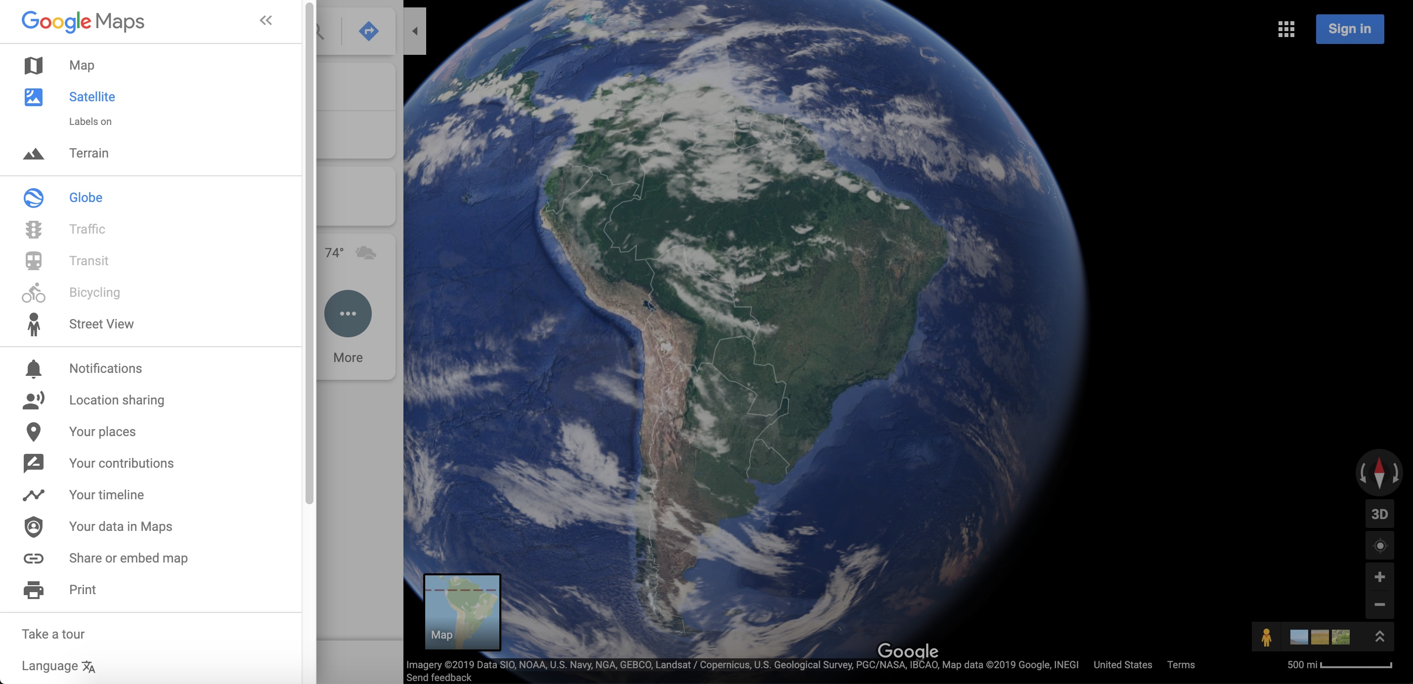 Google Maps satellite imagery view of South America (2019)