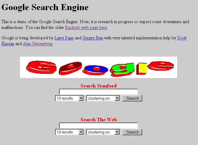 Google in its earliest alpha stage. (1997)