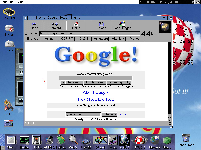Google homepage in its formative stages (1998)