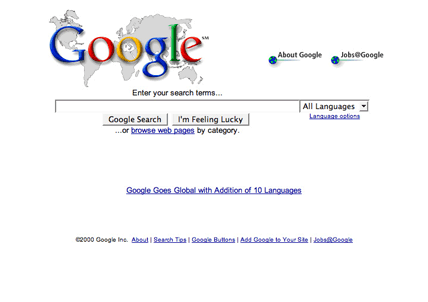 Google search homepage, with language options and world map (2000)