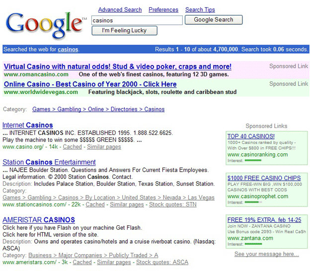 Adwords ads in Google search results (2001)