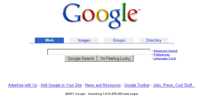 Google homepage with tabbed interface (2001)