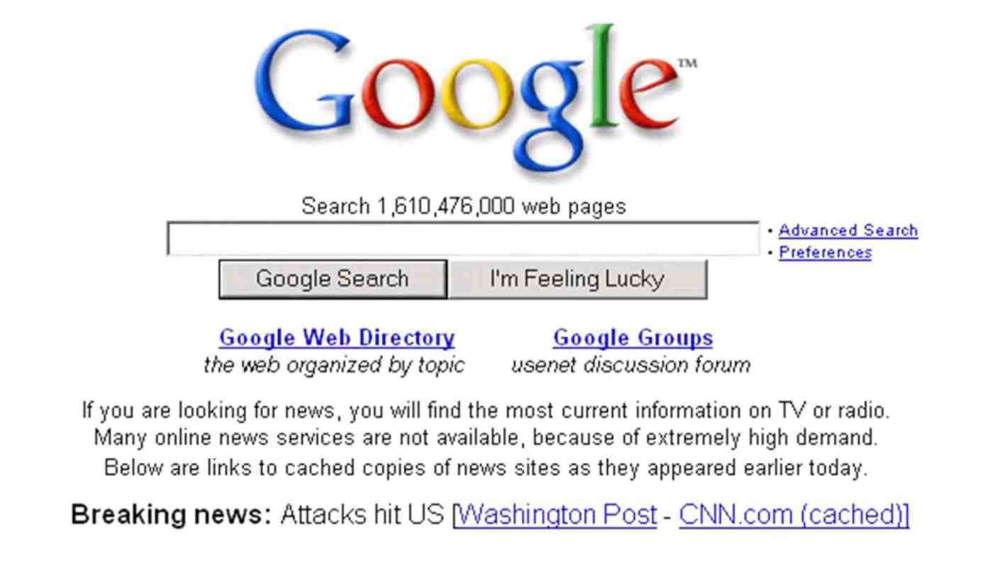 Google Search on 9/11 (2001)