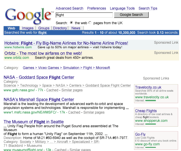 Adwords ads in Google search results (2002)