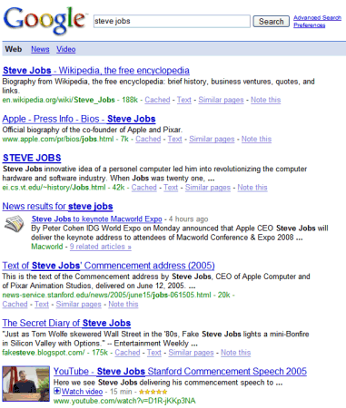 Google universal search, showing results from the web, news, and videos (2007)