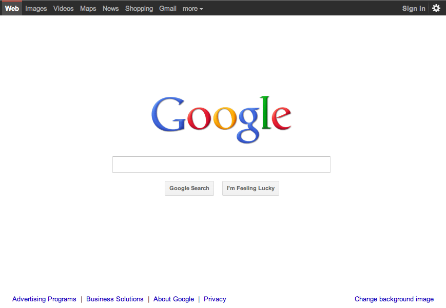 Google homepage redesign (2011)