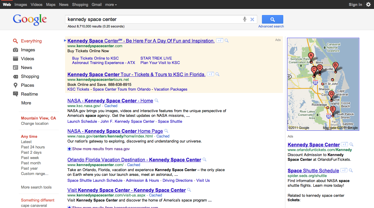 Google search results redesign (2011)