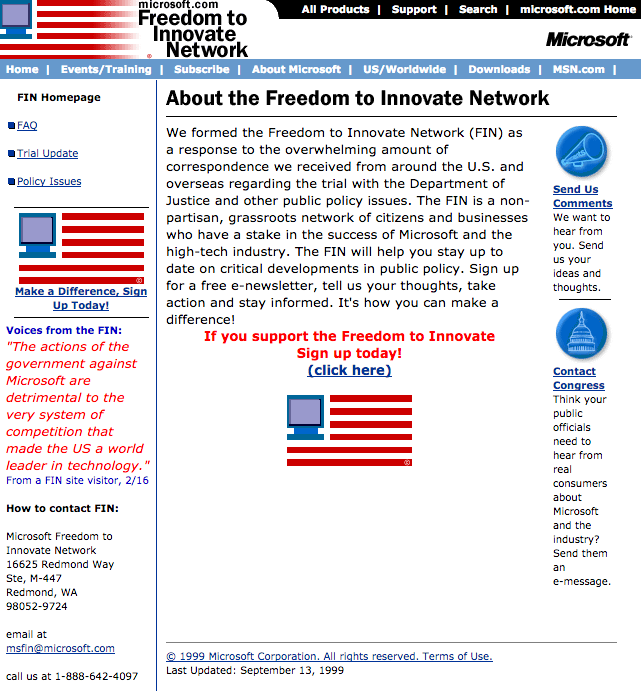 Freedom To Innovate Homepage (1999)