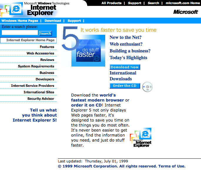 Internet Explorer 5 Download Center (1999)