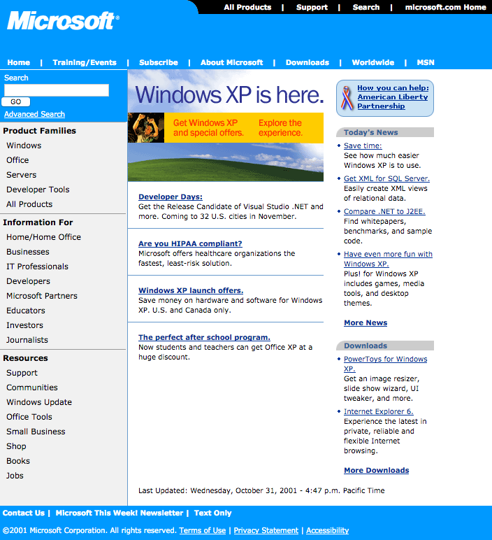 Homepage with Windows XP launch (2001)