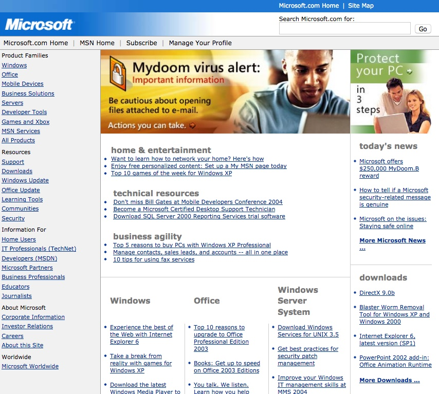 Homepage with MyDoom virus info (2004)