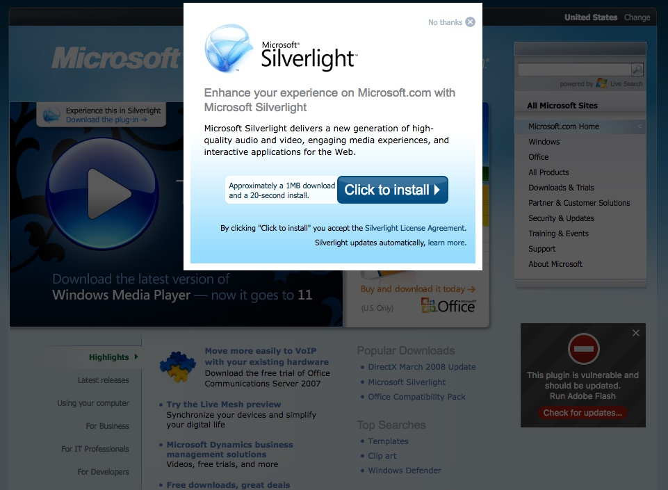 Homepage asking to install MS Silverlight (2008)