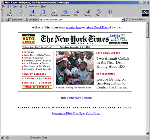 NYTimes.com homepage on Netscape Navigator browser (1996)