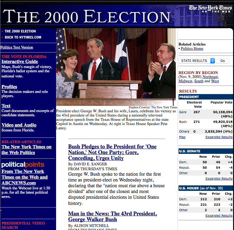 US Presidential election coverage (2000)