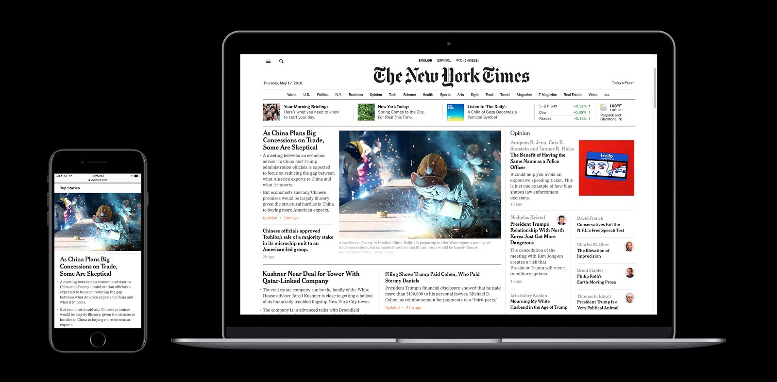 Responsive design on homepage (2018)