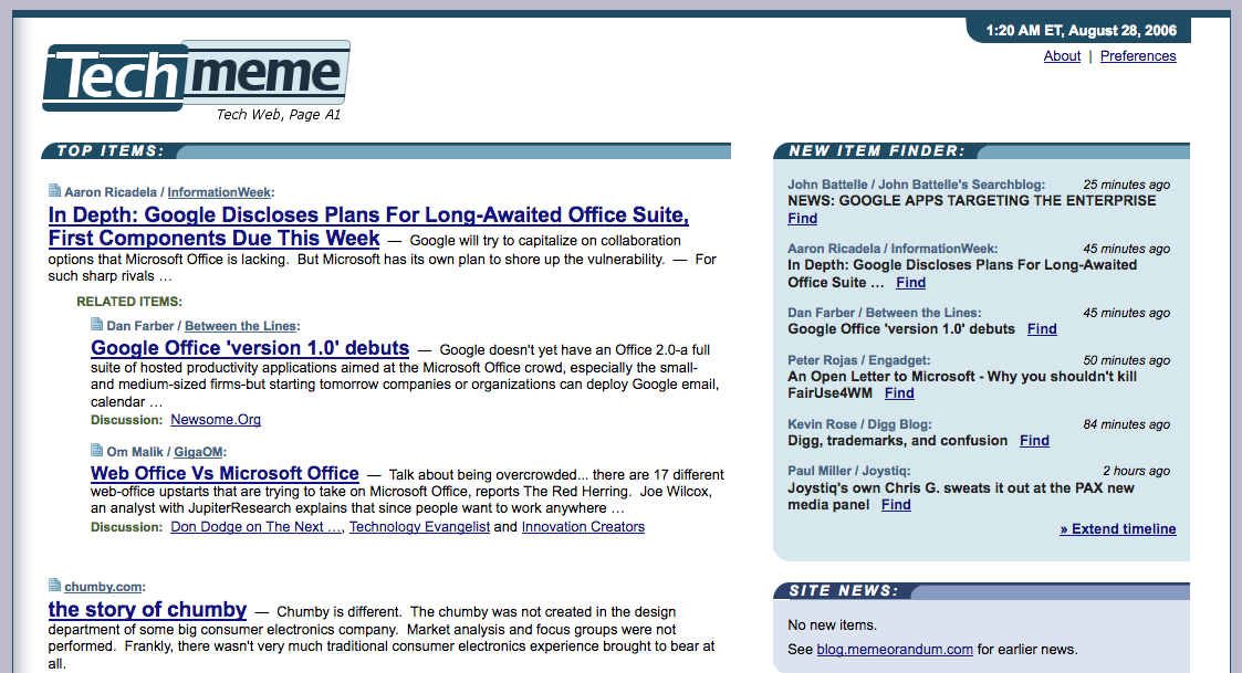 Techmeme homepage (2006)