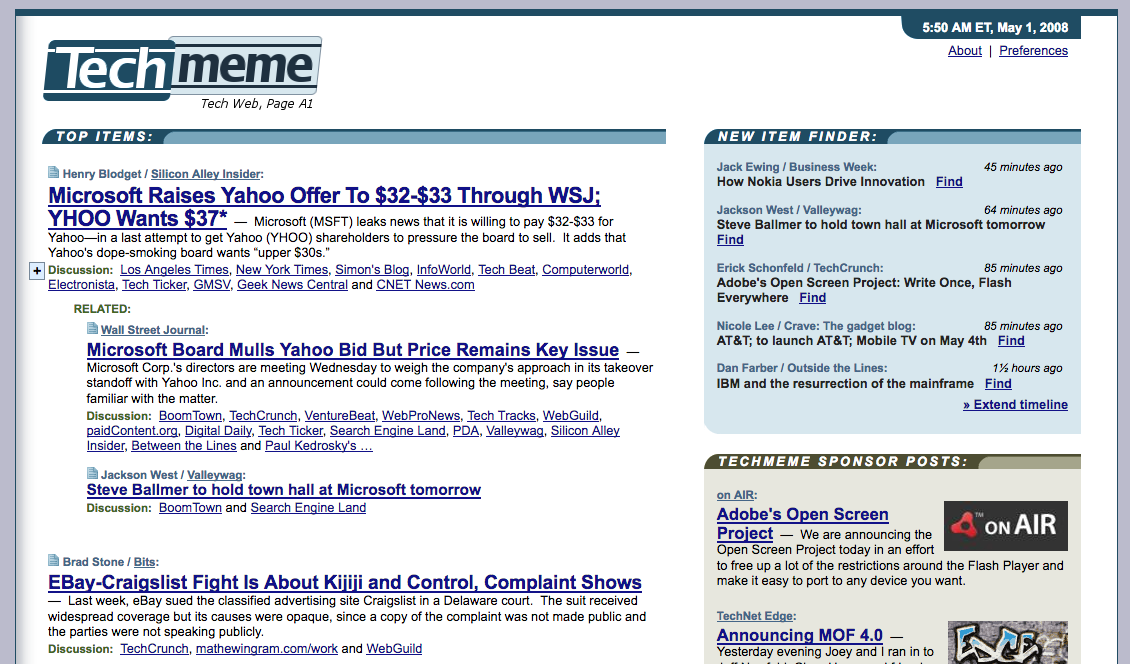 Techmeme homepage (2008)