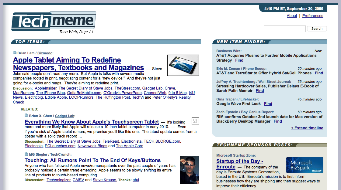 Techmeme homepage (2009)