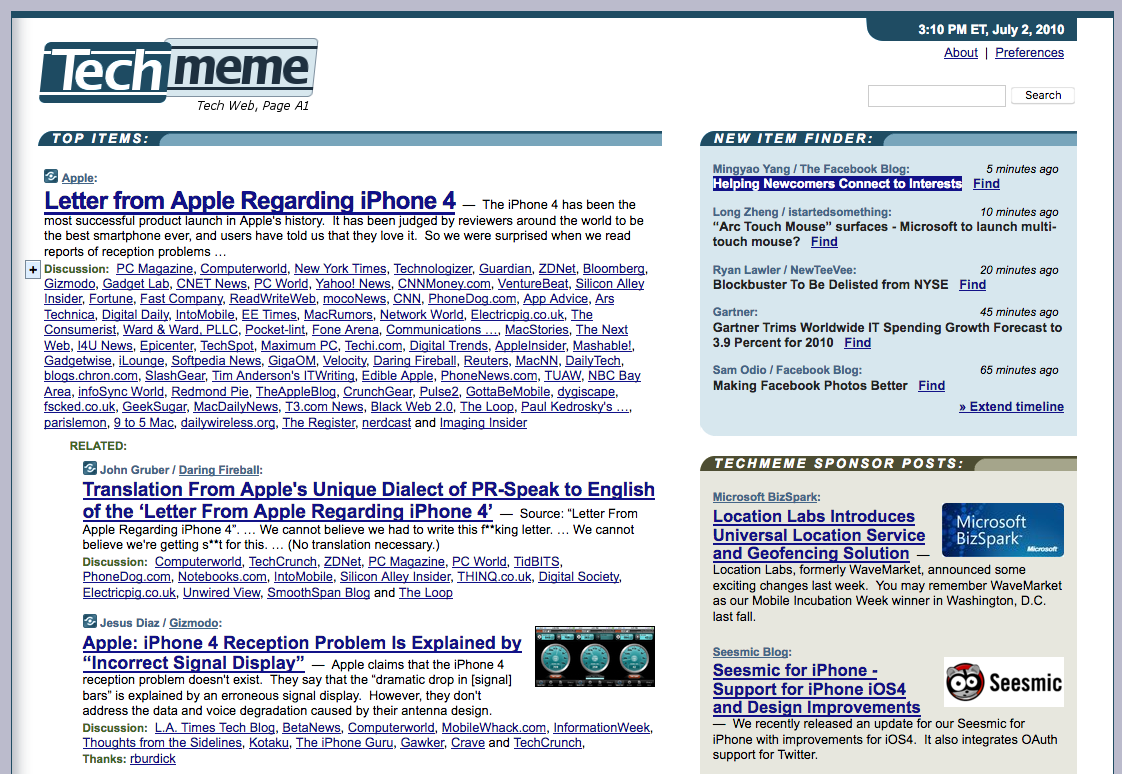 Techmeme homepage (2010)