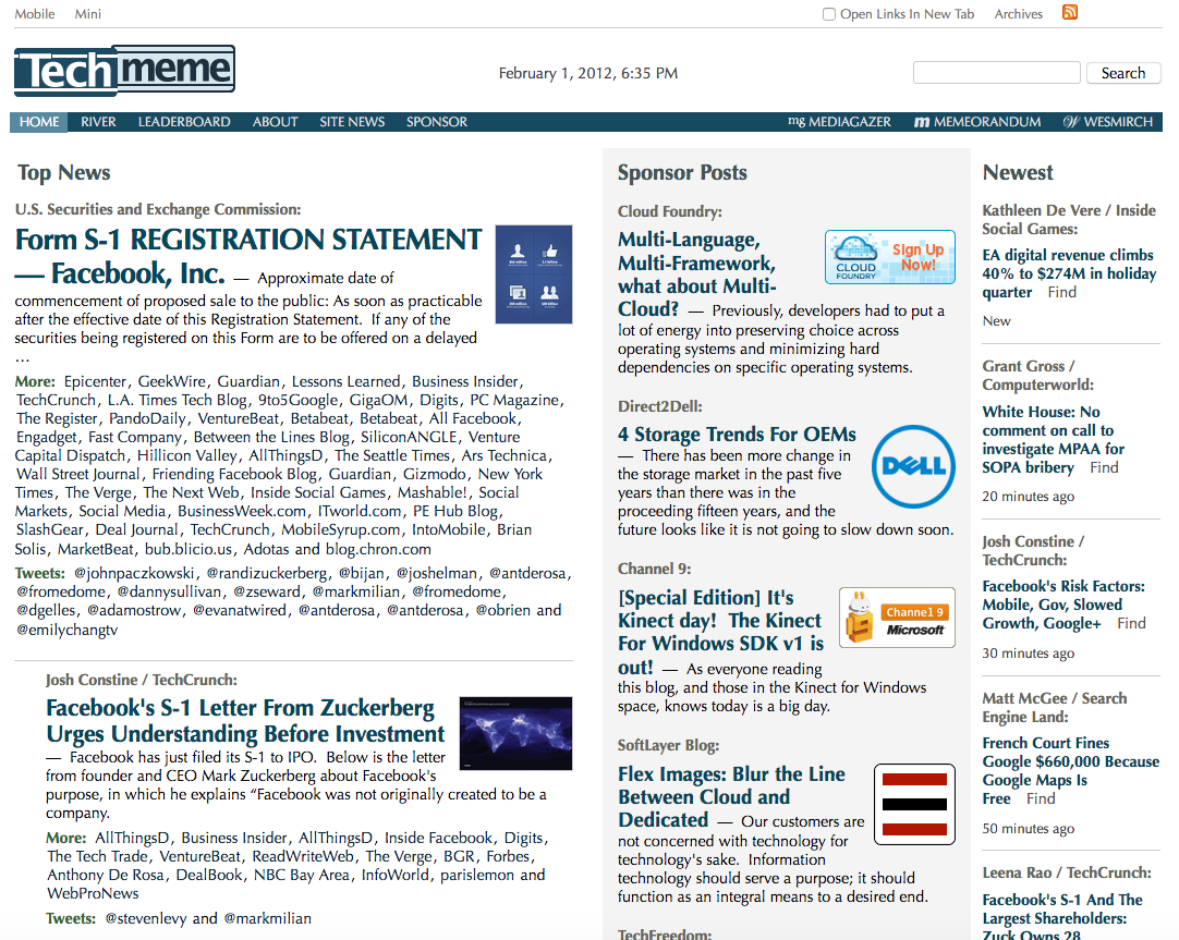 Techmeme homepage (2012)