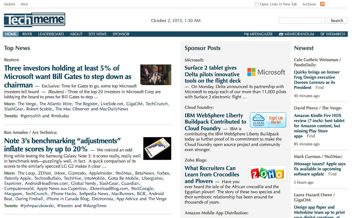 Techmeme homepage (2013)
