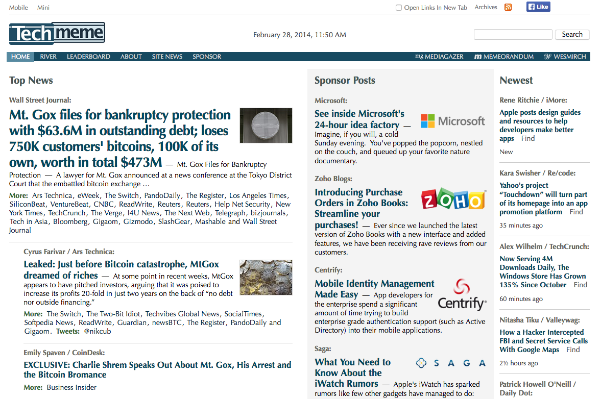 Techmeme homepage (2014)