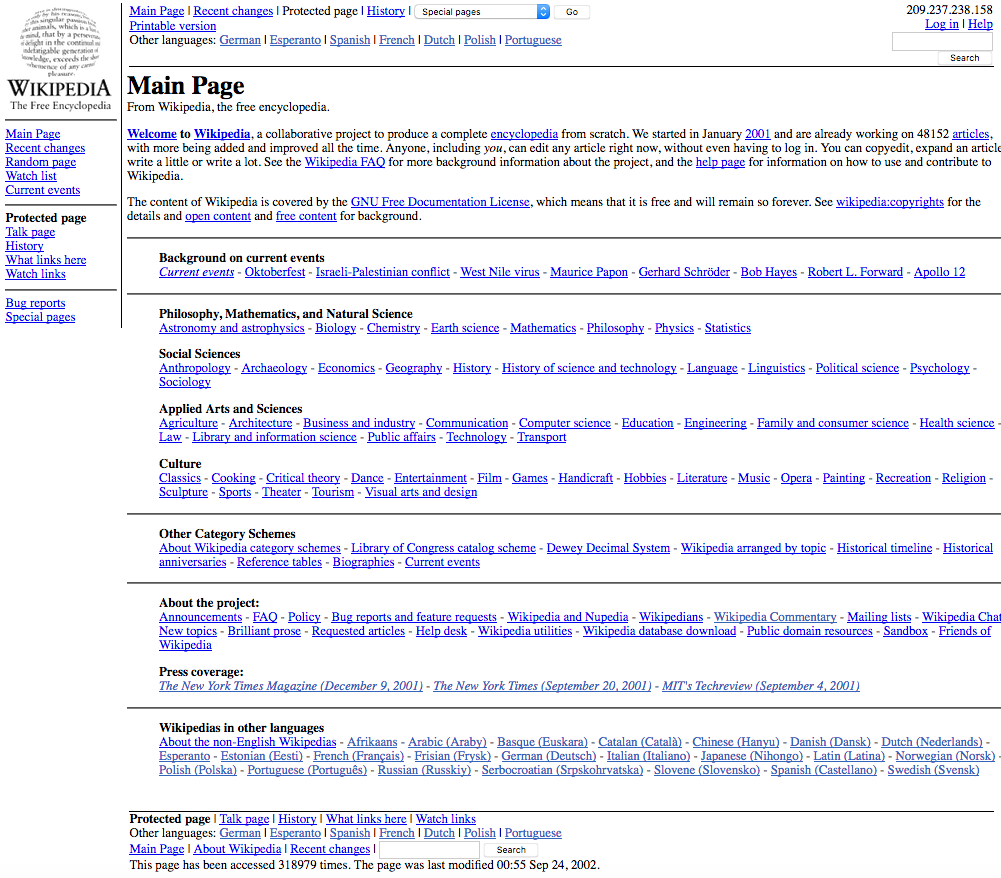 18 Years of Wikipedia Website Design History - 17 Images