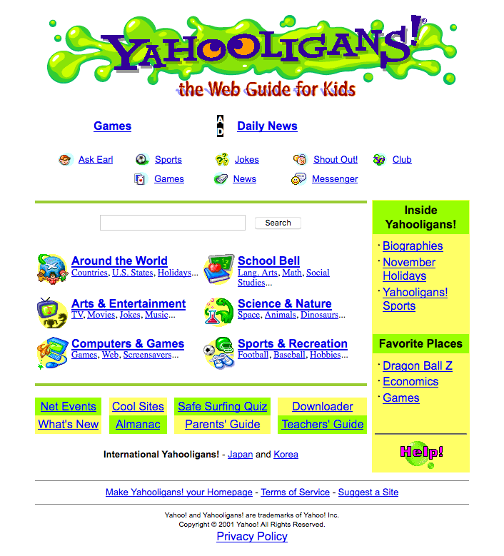 25 Years of Yahoo com Website Design History - 20 Images