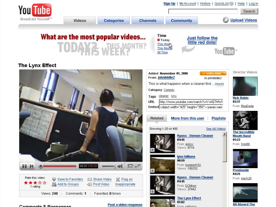 YouTube video watch page (2007)
