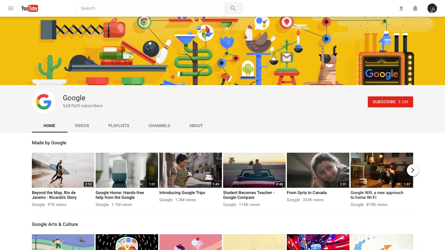 YouTube channel page after redesign (2017)
